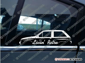 2x Livin' RETRO car stickers - for Vauxhall Nova Mk1/ Opel Corsa A